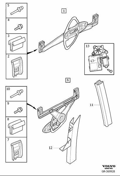 Volvo S40 Guide Rail. Door. Window Lift Mechanism. (Right