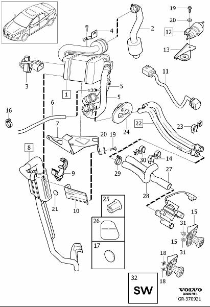 Volvo XC60 Exhaust Pipe. Auxiliary Heater, Fuel Powered