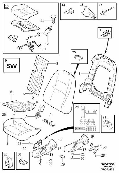 Volvo C30 Belt Guide. Seat Padding Panels. (Left, Front