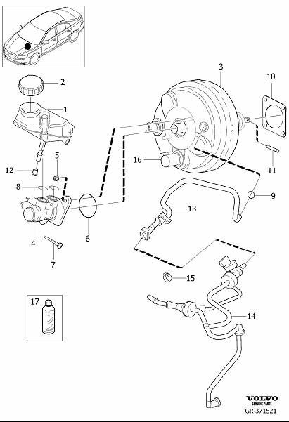 Volvo S80 Brake Vacuum Hose. Power, Master, Cylinder