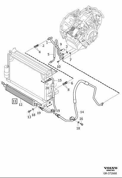 Volvo XC90 Hose. Oil Cooler Transmission. Outlet. B8444S