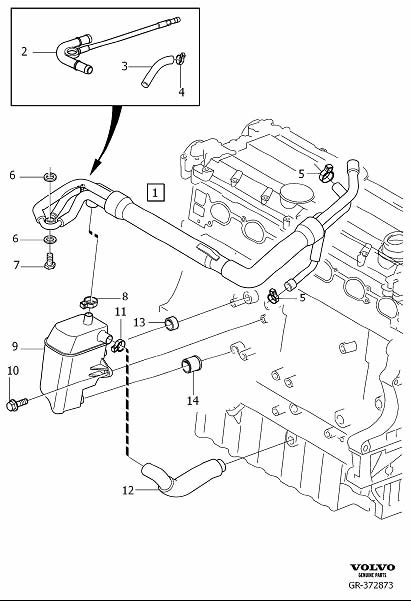 Volvo XC90 Nipple. Crankcase Ventilation. 6CYL. CH 297000