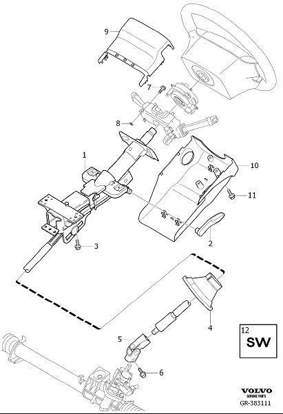Volvo XC90 Steering Column Cover (Lower, Interior code
