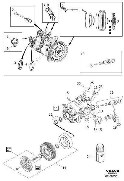 Volvo XC60 A/c compressor clutch. Solenoid clutch