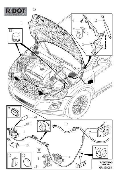 Volvo XC60 Hood Release Handle (Interior code: 2X0X, 4100