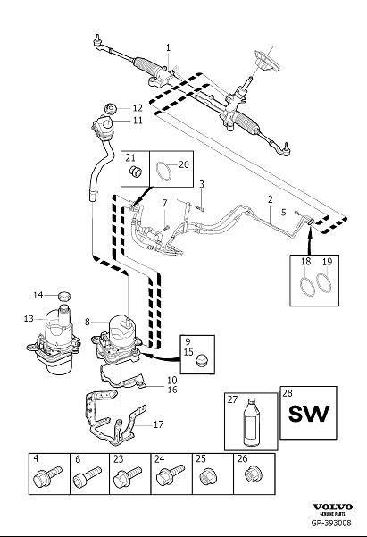 Volvo S40 Power Steering Pump Mount Bushing. RUBBER