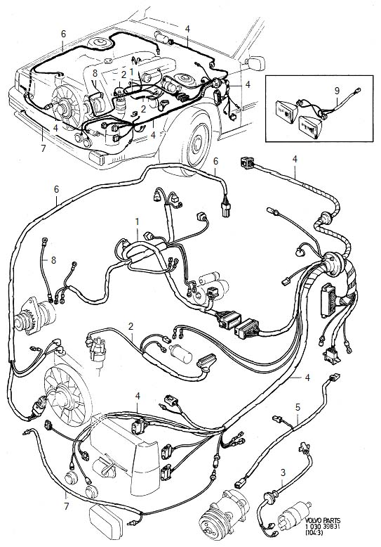 Volvo 760 Wiring Harness. Cable Harness. Engine