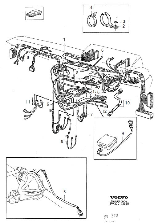 Volvo 740 Wiring Harness. Cable Harness. Dashboard