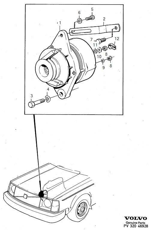 Volvo 240 Hexagon Screw. Alternator. B20. Generator (ac