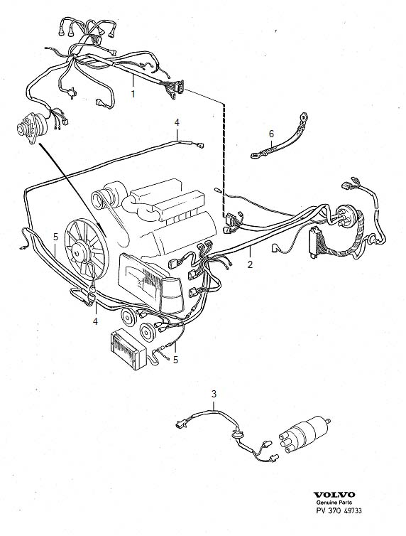 Volvo 780 Wiring Harness. Cable, Engine, Compartment