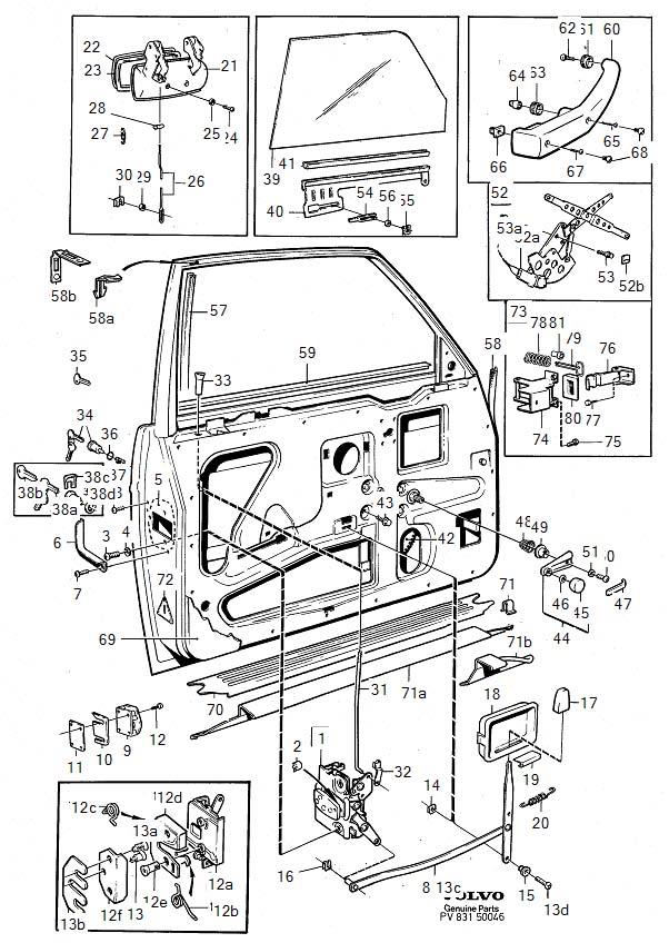Volvo 240 Clip. Door Parts. Interior Trim. Temporary
