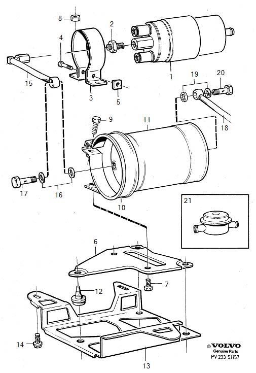 Volvo 760 Electric Fuel Pump. Emissions Code B, C, E, F, K