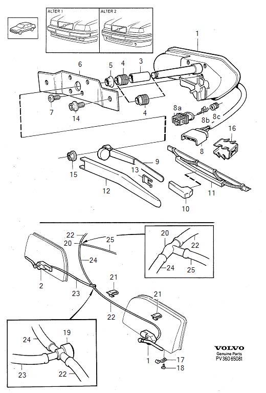 Volvo 850 Wiper Motor. Complete. Headlight Washers
