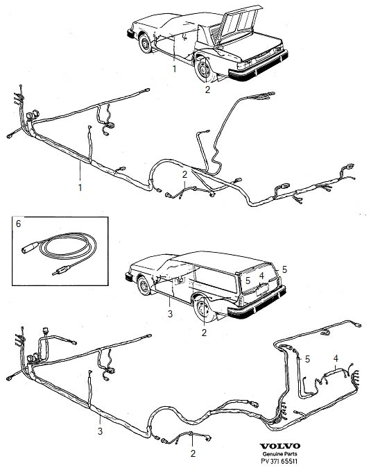Volvo 240 Wiring Harness. Cable Harness, Bottom Rail Boot