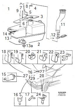 Volvo 850 Retainer. Washers, Windshield, Windscreen
