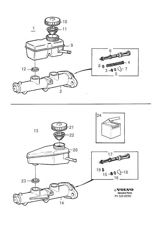 Volvo 760 Brake Master Cylinder Repair Kit. Repair Kits