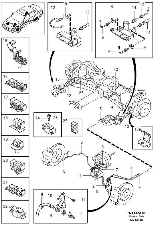 Volvo V70 Clamp. Brake Lines. Brake Pipes. With Fittings