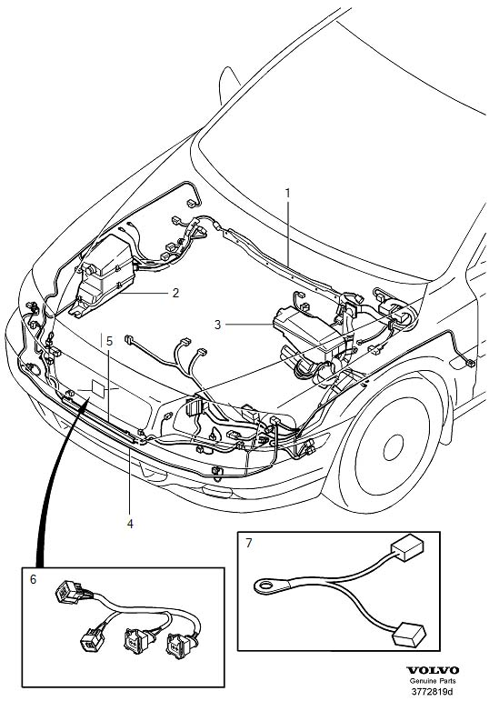 Volvo S80 Wiring Harness. Cable Harness Engine Compartment