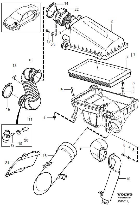 Volvo V40 Air Inlet. Air Filter. Diesel. TURBO, Engine