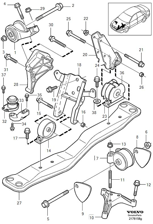 Volvo S40 Engine Mount Washer. Connection Collar. Engine