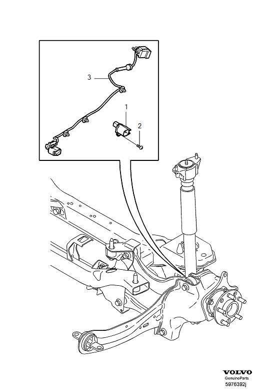 Volvo V50 Abs wheel speed sensor (rear). Anti lock brake