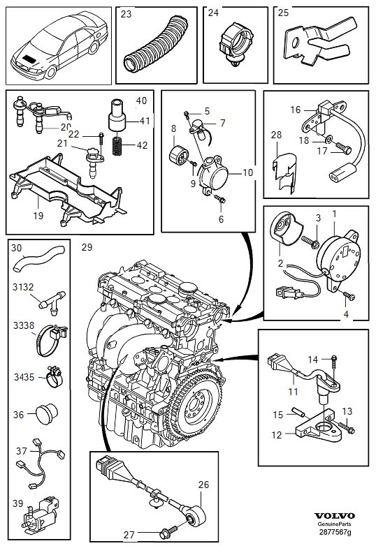 Volvo S40 Wiring Harness. Ignition System. 2000- 4CYL EXC