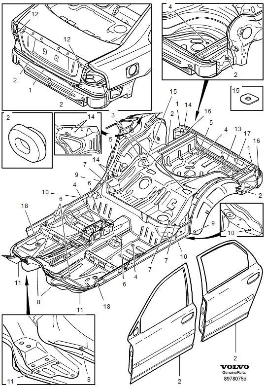 Volvo S80 Sealing Plugs. A16. Seals Body, Cargo