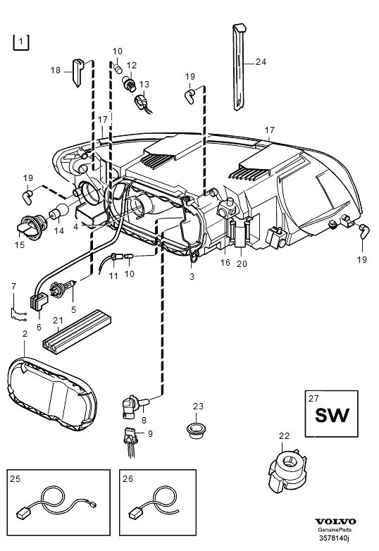 Volvo S40 Headlights. Halogen. Headlamps. (US). (Right