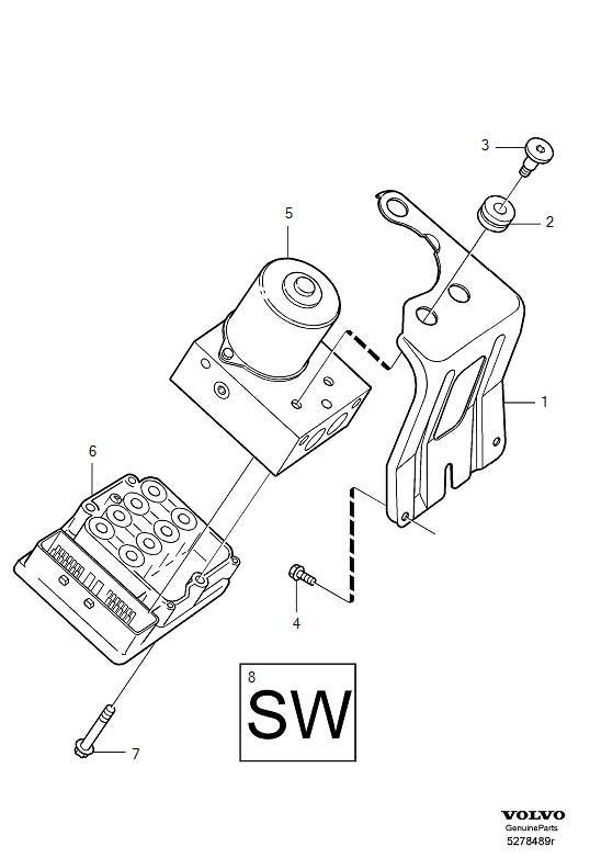 Volvo XC90 Abs control module screw. Hydraulic, unit, pump