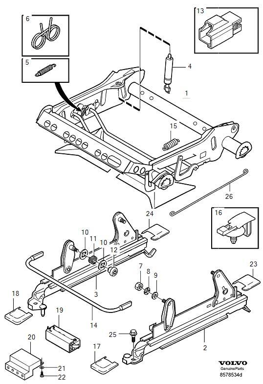 Volvo V70 XC Spring. Subframe For Seat, Manual Adjustment