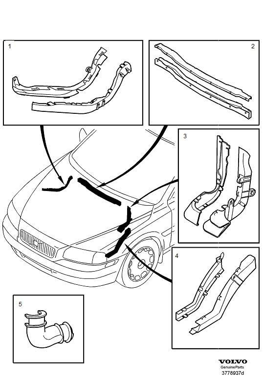 Volvo S60 Cable conduit. Harness, Engine, Compartment