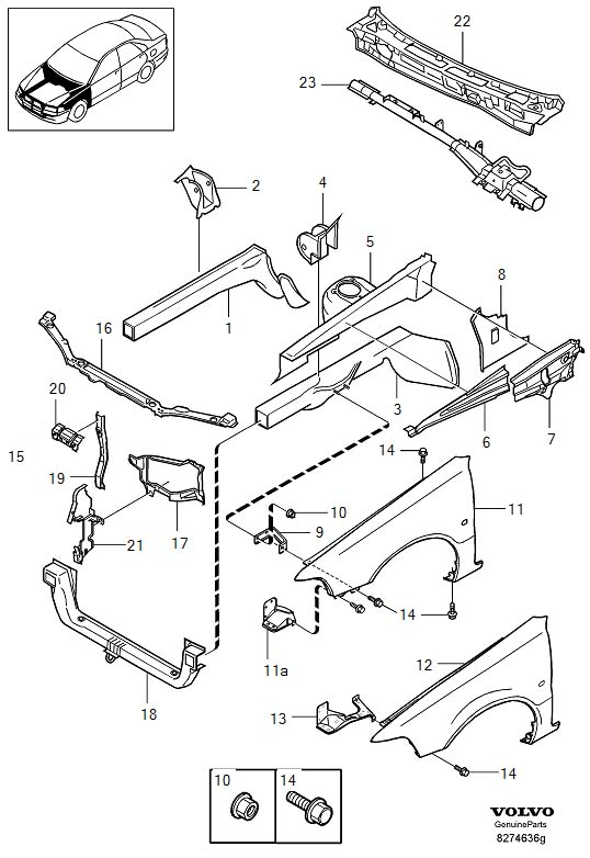 2004 Volvo S40 Hood Latch Support (Front). Stay. Section