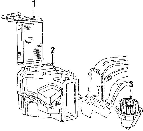 Volkswagen Jetta Heater case. HOUSING. W/o AC. AIR