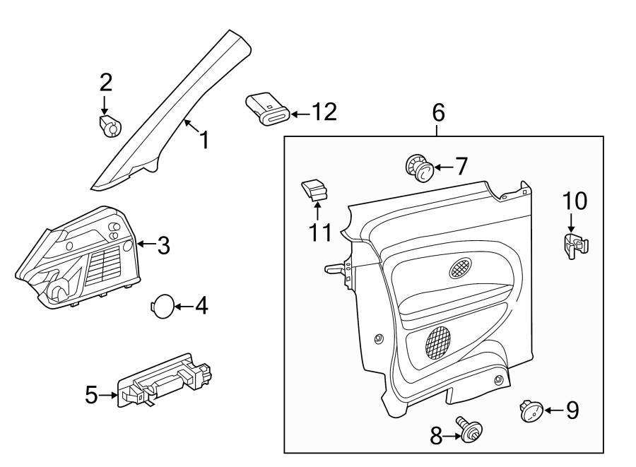 2016 Volkswagen Beetle Body C-Pillar Trim Panel (Front
