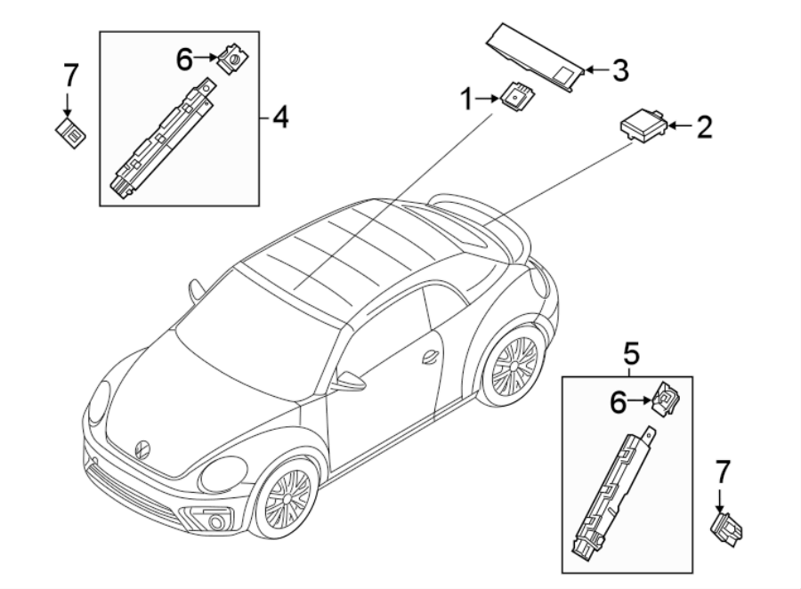 Volkswagen Beetle Antenna. Satellite, RADIO, CONVERTIBLE