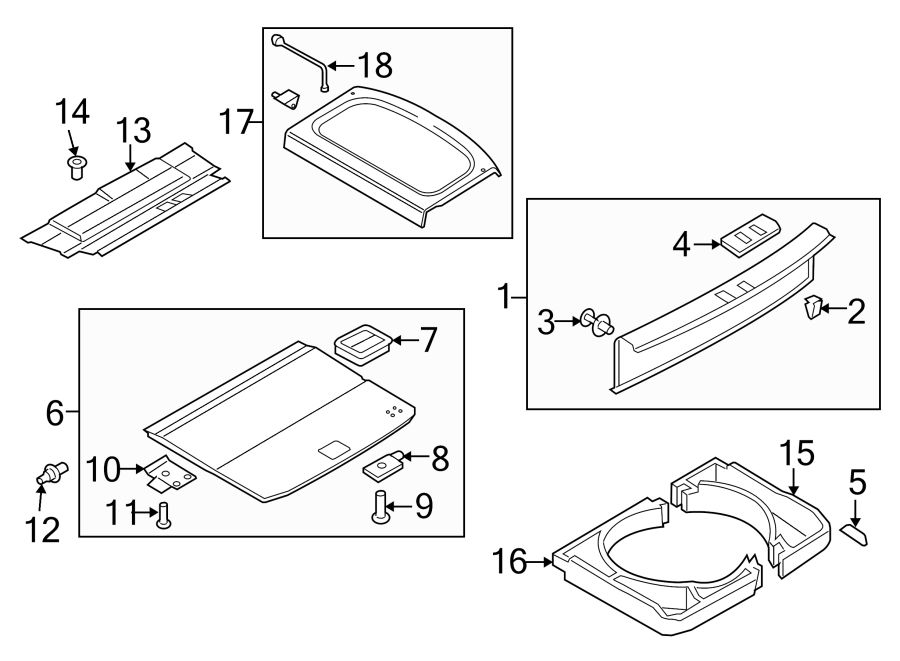 Volkswagen Tiguan Cargo Cover (Rear). FLOOR, COMPONENTS
