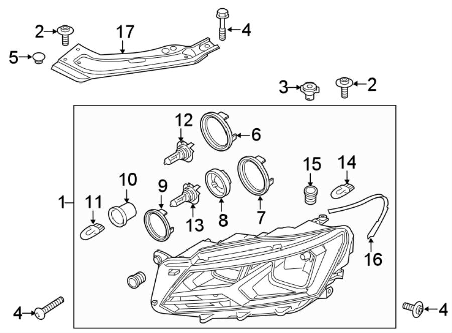 2017 Volkswagen Passat Headlight Assembly spacer. Included