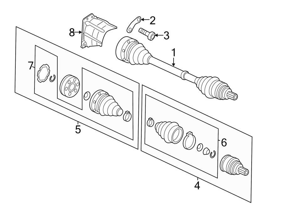 2015 Volkswagen Passat Cv axle assembly. Trans, manual