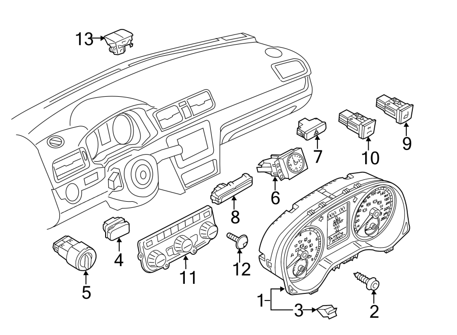 2014 Volkswagen Passat SE Sedan 3.6L V6 M/T Hazard Warning