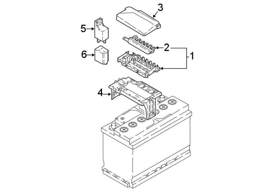 2018 Volkswagen Atlas Fuse Box. UNDER HOOD, BATTERY, code