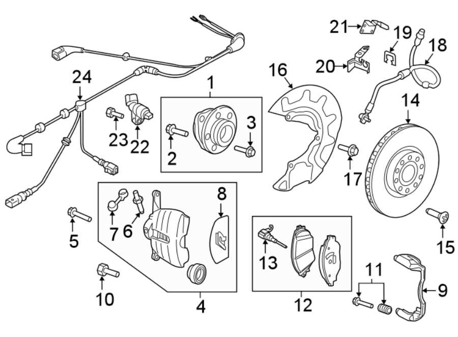 2015 Volkswagen Golf R Brake lining. Brake pads. Disc