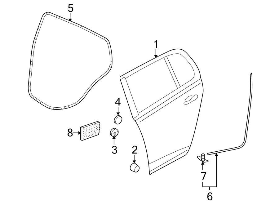 2000 Volkswagen Passat Door Seal (Rear, Lower). Right