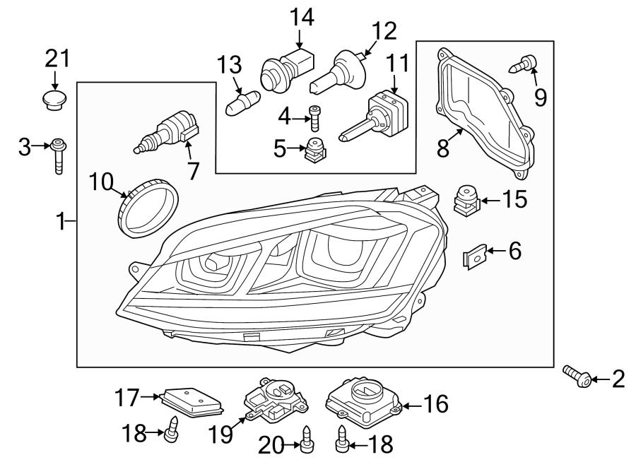 Volkswagen GTI Headlight Assembly. BI-XENON. GTI; Right
