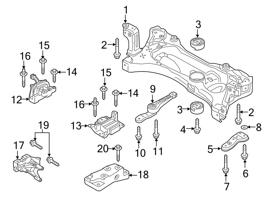 2017 Volkswagen GTI Engine Cradle. TRANS, LITER, MANUAL