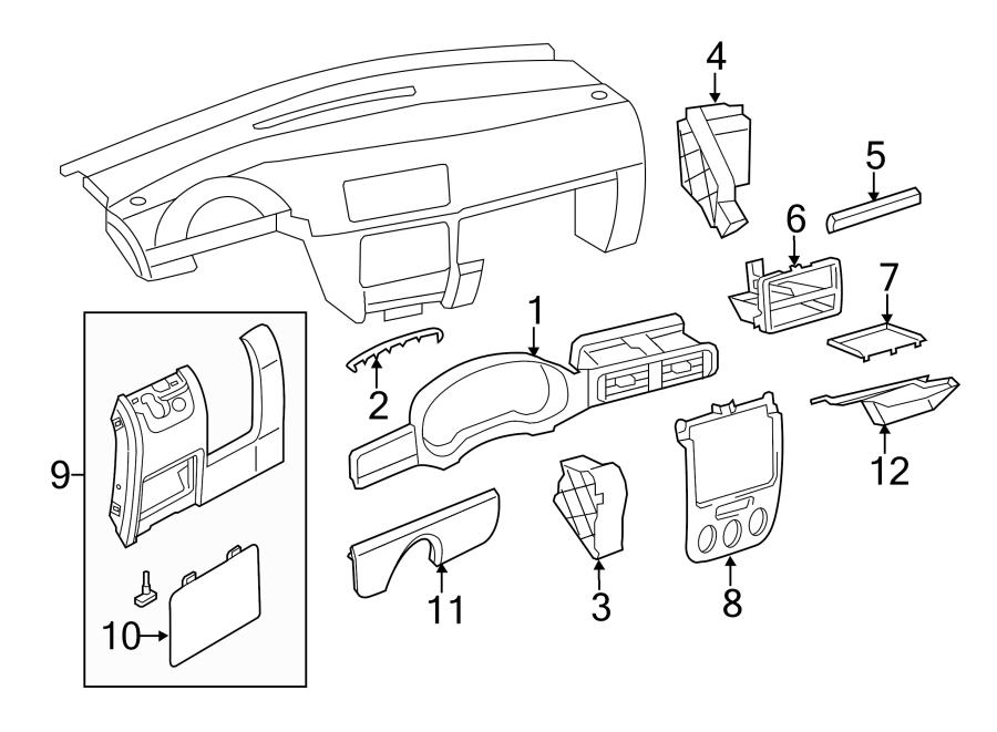 2012 Volkswagen Jetta SE Sedan Instrument Cluster Bezel