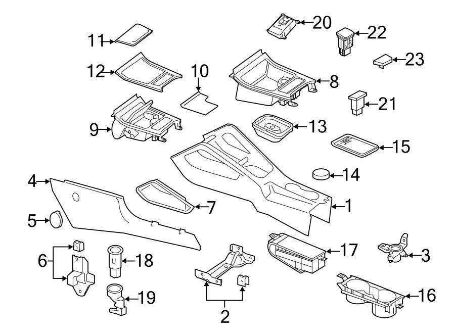 2012 Volkswagen Eos Bracket. Console. Trim Panel. Clamp