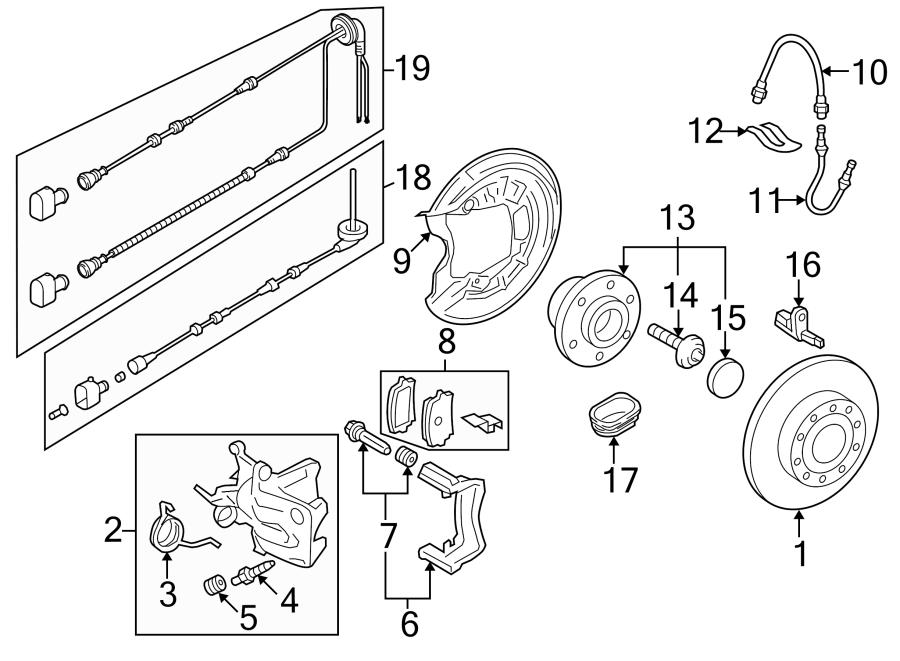 2009 Volkswagen Eos Abs wheel speed sensor wiring harness