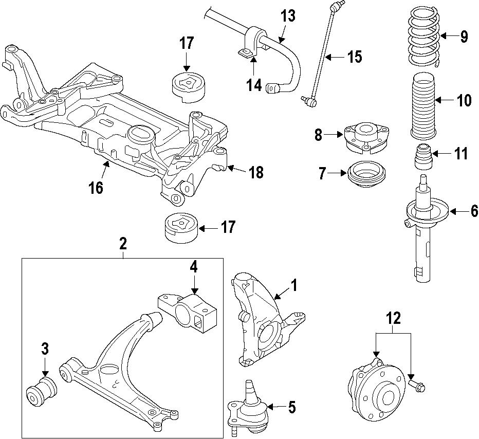 2010 Volkswagen Tiguan Suspension Control Arm (Lower