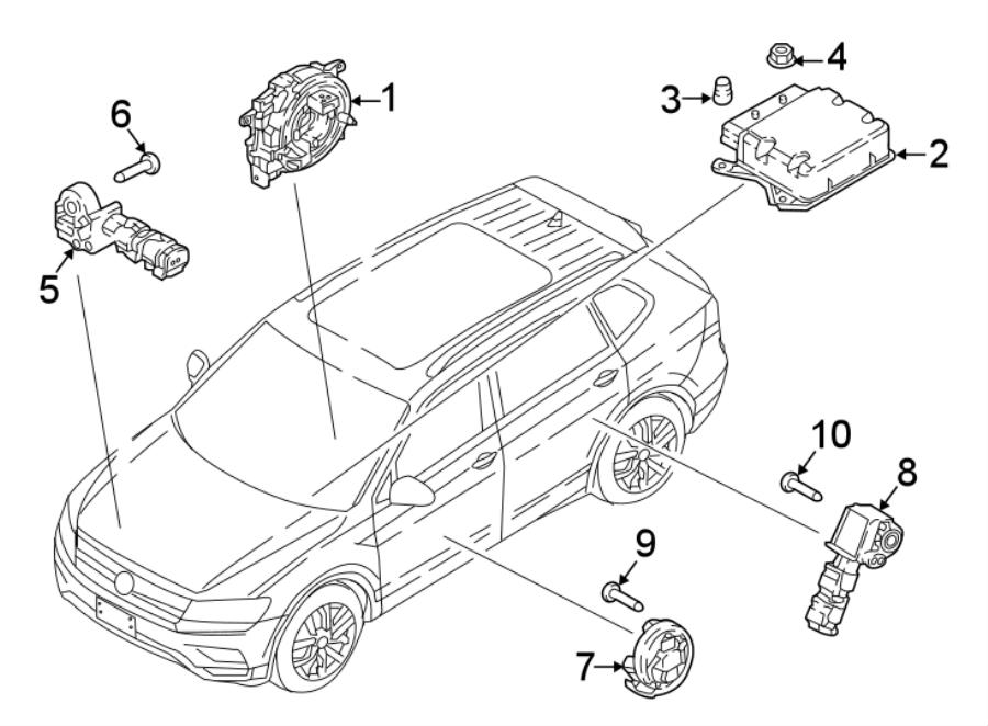 Volkswagen Tiguan Bolt. Sensor. Impact. (Front, Rear