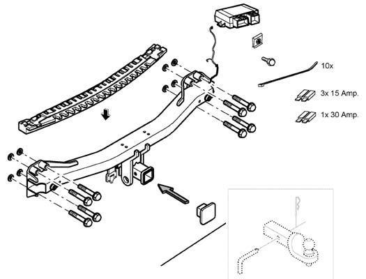 Volkswagen Touareg Trailer hitch (w/o ball mountconnector